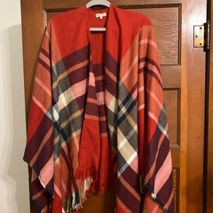 Red plaid shawl/poncho